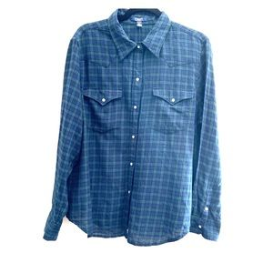 CHAPS   Holiday Blue Green Flannel Button-up Shirt